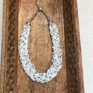 White braided statement necklaces beaded